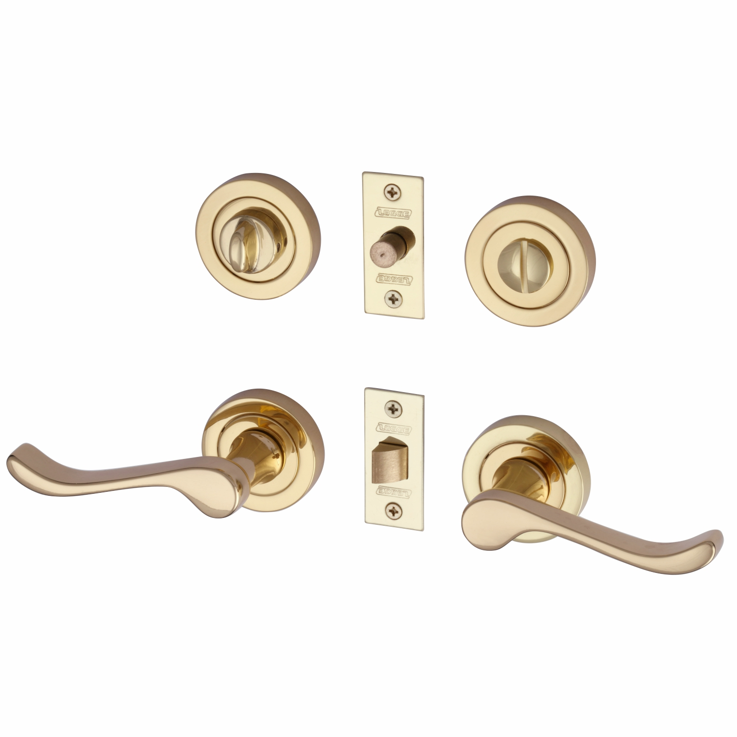 Scroll Lever Polished Brass with Latch and privacy set