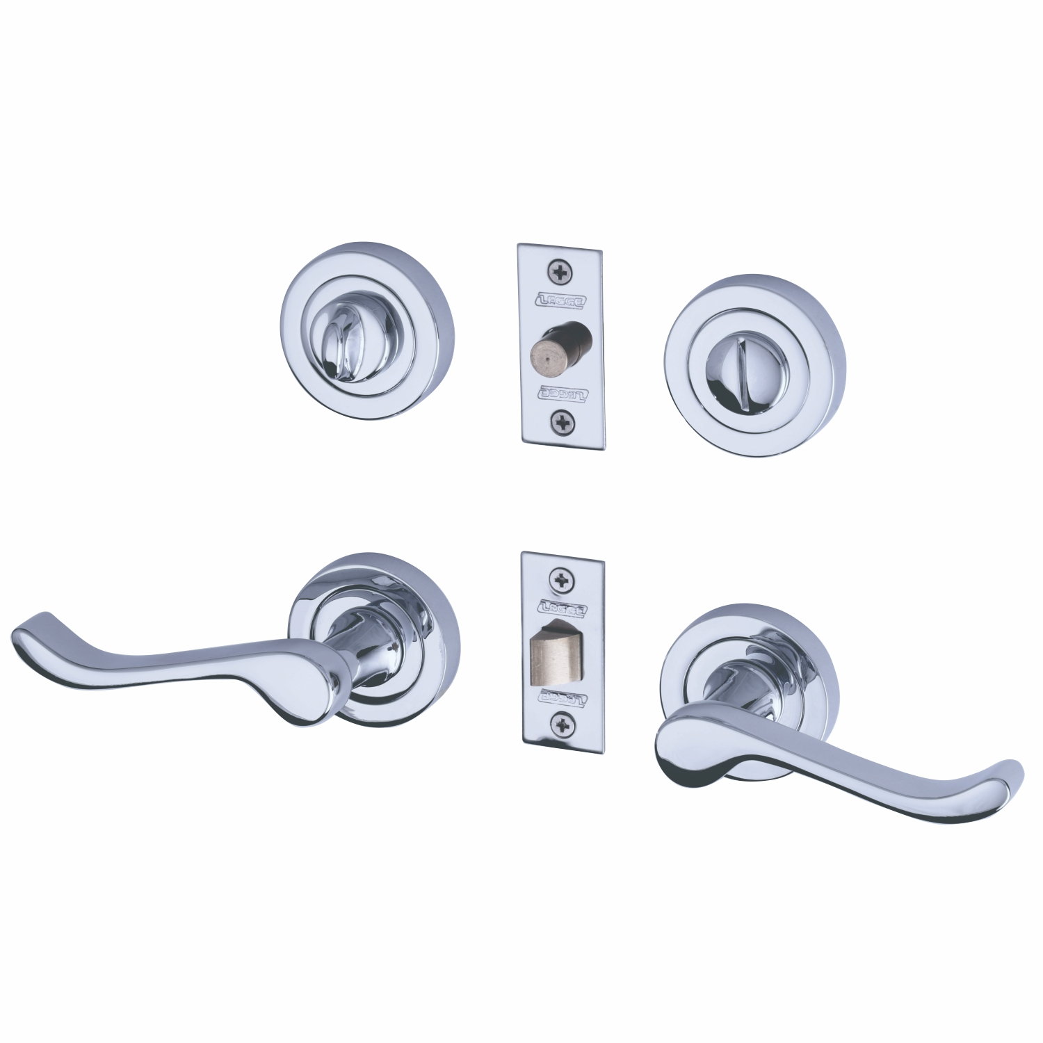 Scroll Lever Polished Chrome with Latch and privacy set